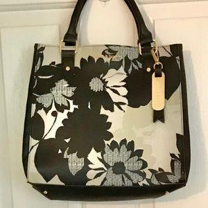 NWOT Saffiano Leather Tote Bag Emma Sophia Silver